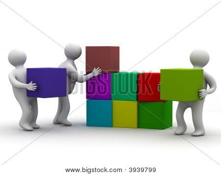 Menschen sammeln Puzzle. 3D Abbild. isoliert Illustrationen