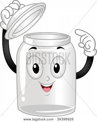 Mascot Illustration of an Empty Glass Canister Poiting at Itself