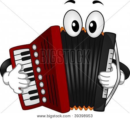 Mascot Illustration of an Accordion Pressing the Keys of its Keyboard