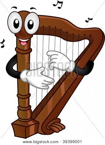 Mascot Illustration of a Harp Plucking its Strings