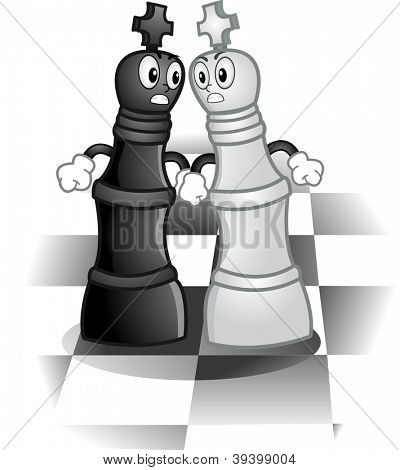 Mascot Illustration of a Pair of Kings Fighting on a Chess Board