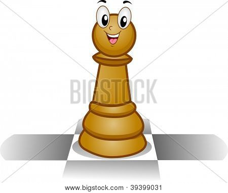 Mascot Illustration of a Happy Chess Pawn Standing on a Chess Board