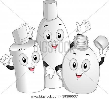 Ilustração de mascote de garrafas de produtos de higiene pessoal, acenando alegremente