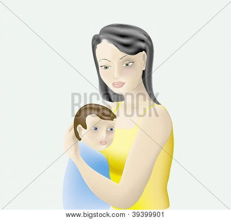 Vector illustration of mother and her baby