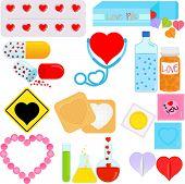 Постер, плакат: Продукты и пакеты с форме сердца концептуальная Романтика