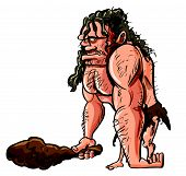 stock photo of loincloth  - Cartoon vector illustration of a stooped muscular caveman or troglodyte in an animal skin loincloth brandishing a wooden cudgel - JPG