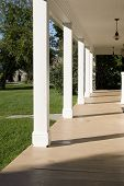 Empty Porch With Pillars