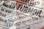 picture of stock market crash  - Composited newspaper headlines showing turmoil and panic in the stock market in November of 2008 - JPG