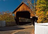pic of woodstock  - Middle Bridge in Woodstock Vermont on a beautiful autumn day - JPG