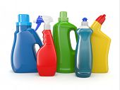 Plastic detergent bottles on white background. Cleaning products. 3d