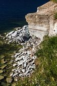 stock photo of paleozoic  - The limestone banks of Pakri Peninsula Paldiski Estonia - JPG