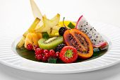 picture of dragon fruit  - Exotic Fruit Dish with Mint Jelly - JPG