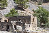 stock photo of samaria  - Old houses and village at Samaria gorge of Crete island in Greece - JPG