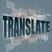 Business Concept: Words Translate On Digital Screen