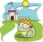 Vector cartoon animal design: frog prince with crown poster