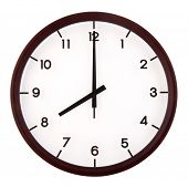stock photo of analog clock  - Classic analog clock pointing at 8 o - JPG