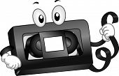 stock photo of magnetic tape  - Mascot Illustration of a VHS Tape Holding a Strip of Magnetic Tape - JPG
