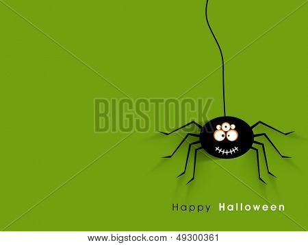 Halloween party night flyer, banner or poster with spider on green background.