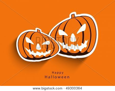 Sticker, tag or label of scary Halloween pumpkins on orange background.