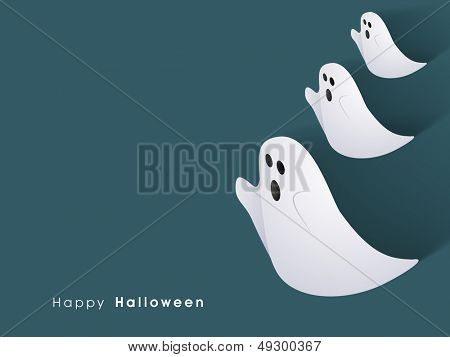 Classic character of ghost on abstract green background can be use as flyer, banner or poster for Halloween Party Night.