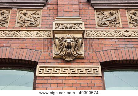 Lion Head On Old Building Facade In St.petersburg, Russia. This House Was Built In 1896-1897 By Proj