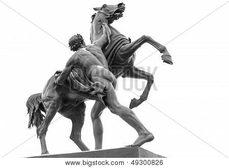 Horse Tamers Sculpture Isolated On White, Designed By Sculptor, Baron Peter Klodt Von Urgensburg In