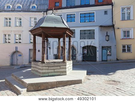 Ancient Well On The Square In Old Town Of Tallinn, Estonia