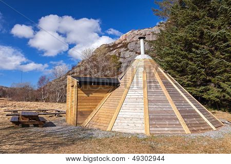Small Wooden Free For Use Camping House In Norway