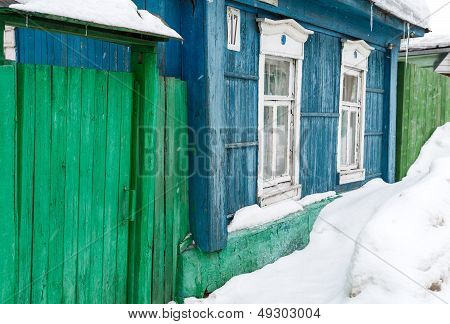 Winter Street With Wooden Old Rural Houses And Snow Drifts. Historical Town Kolomna, Moscow Region,