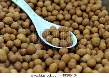 Close-ups of fried snacks