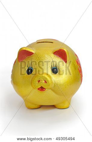 Golden Piggy Bank on White Background