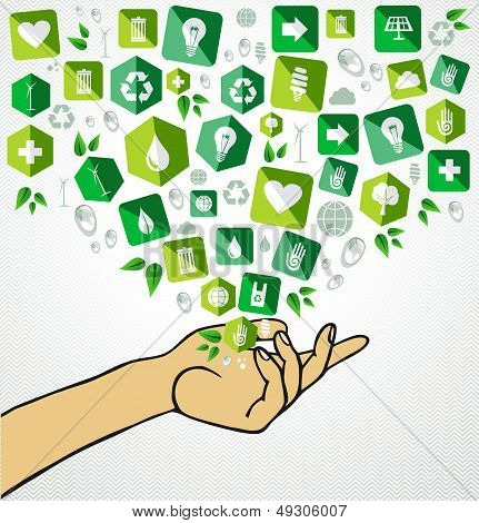 Green Life Human Hand Recycle Flat Icons