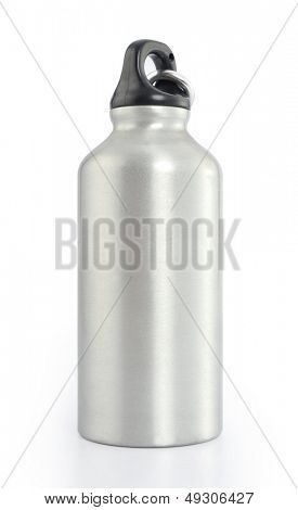Grey metal water flask on a white background
