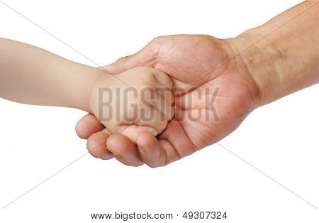 Child and adult's hand