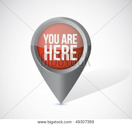 You Are Here Pointer Locator Illustration Design