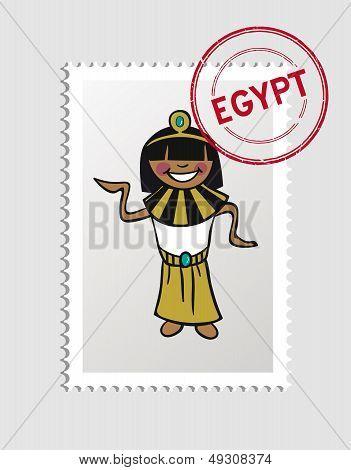 Egypt Cartoon Person Travel Stamp.