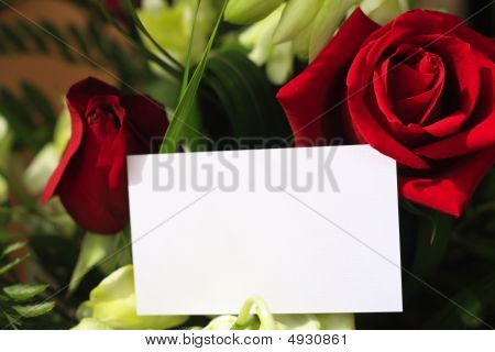 Red Roses, Orchids And A Blank Card