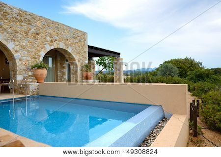 Swimming Pool By Luxury Sea View Villa, Peloponnes, Greece