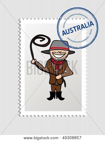 Australia Cartoon Person Travel Stamp.