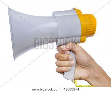 Holding a white megaphone. Isolated on a white background.