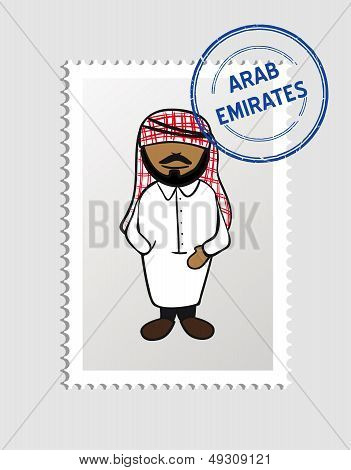Arab Emirates Cartoon Person Travel Stamp.