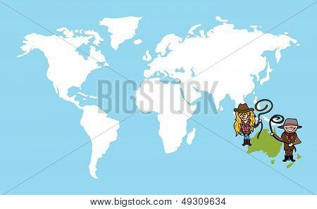 Australian People Diversity Concept World Map
