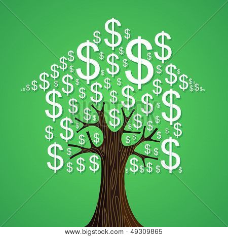 Real Estate Tree House Cash Icons Rental Concept.