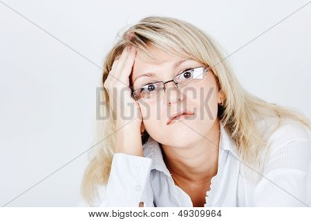 Tired Of Attractive Young Blond Woman In Glasses