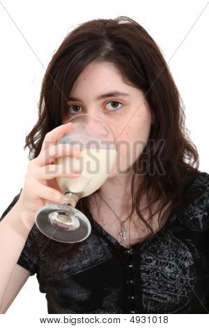 Teen Girl Drinking Soymilk