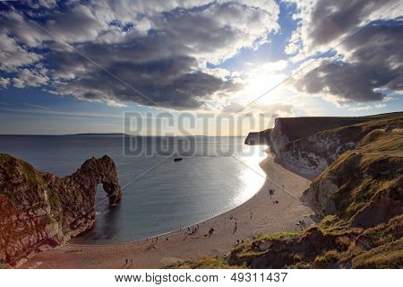 Sunset arriving at Durdle Door