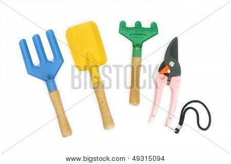 Garden tools in a white background