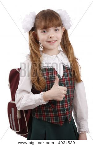 Smiling School Girl. Education. Ok Sign.