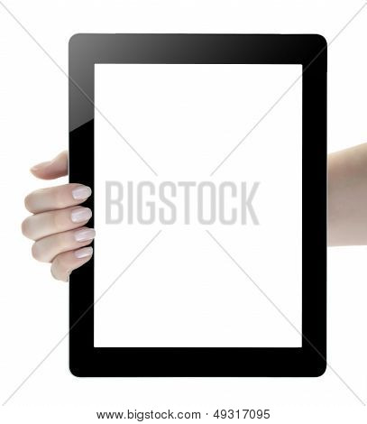 Hand Holding Blank Screen Digital Tablet