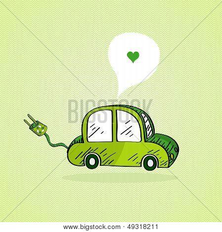 Hand Drawn Green Car.
